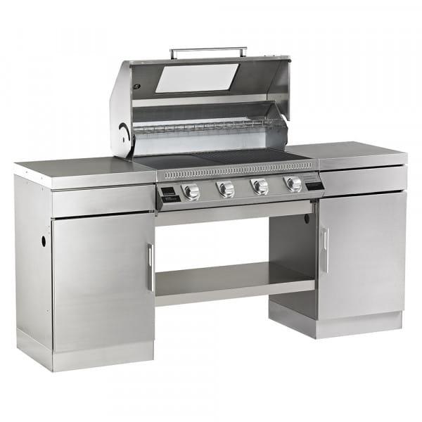 1100S Series - Cuisine extérieure 4 bruleurs avec 2 armoires et une étagère de fond